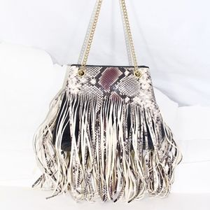 BCBG 100% LEATHER PYTHON PRINTED LEATHER BAG